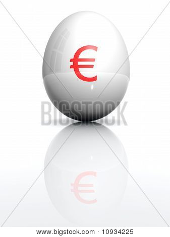 Isolated White Egg With Drawn Euro Character
