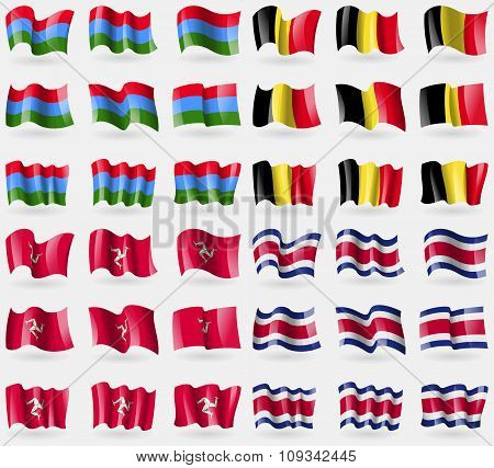 Karelia, Belgium, Isle Of Man, Costa Rica. Set Of 36 Flags Of The Countries Of The World.