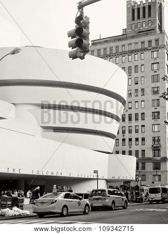 NEW YORK,USA - AUGUST 20,2015 :  The Solomom R. Guggenheim Museum in New York City