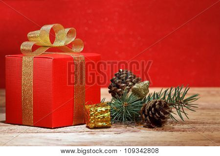 Christmas gift on wooden background
