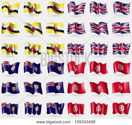 Brunei, United Kingdom, Turks And Caicos, Tunisia. Set Of 36 Flags Of The Countries Of The World.