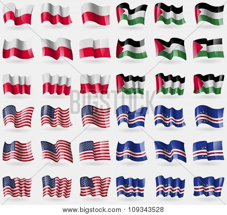 Poland, Palestine, Usa, Cape Verde. Set Of 36 Flags Of The Countries Of The World.