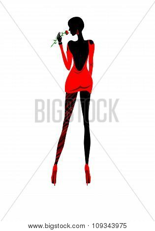 Isolated lady in red silhouette illustration