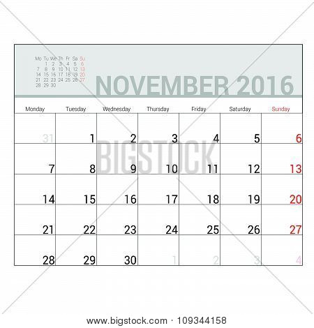 Planners For 2016 November Vector