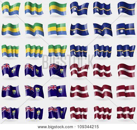 Gabon, Nauru, Saint Helena, Latvia. Set Of 36 Flags Of The Countries Of The World.