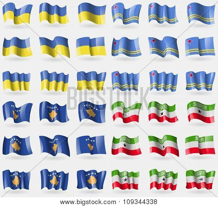 Ukraine, Aruba, Kosovo, Somaliland. Set Of 36 Flags Of The Countries Of The World.