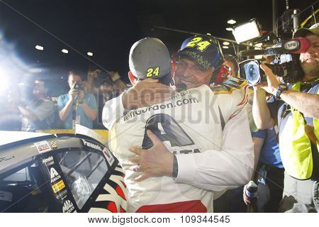Homestead, FL - Nov 22, 2015:  Jeff Gordon (24) hugs Rick Hendrick after failing to win the 2015 NASCAR Sprint Cup Championship following the FORD 400 at Homestead Miami Speedway in Homestead, FL.