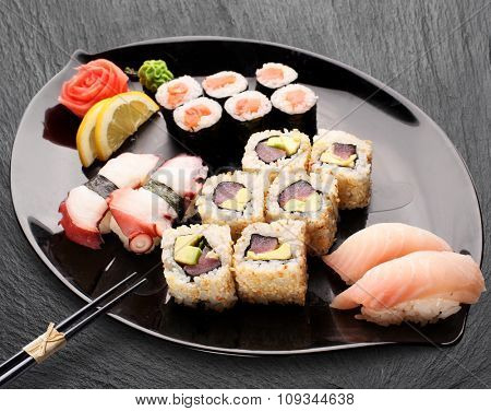 Traditional japanese food. Sushi and sushi rolls.