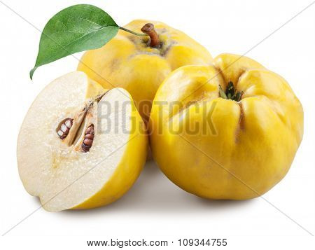 Apples-quince with leaf. File contains clipping paths.