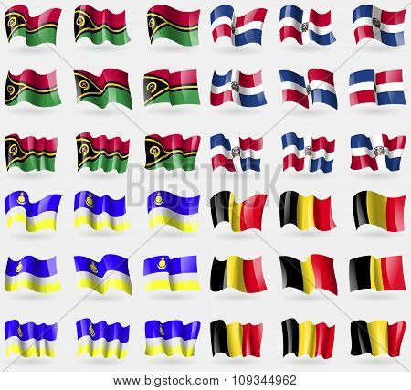 Vanuatu, Dominical Republic, Buryatia, Belgium. Set Of 36 Flags Of The Countries Of The World.