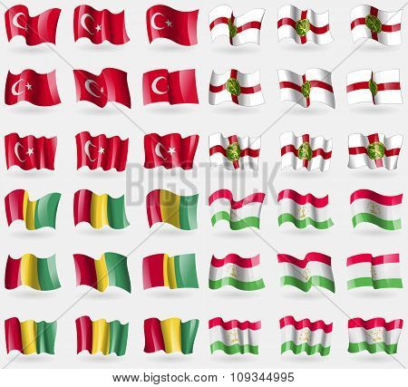 Turkey, Aldeney, Guinea, Tajikistan. Set Of 36 Flags Of The Countries Of The World.