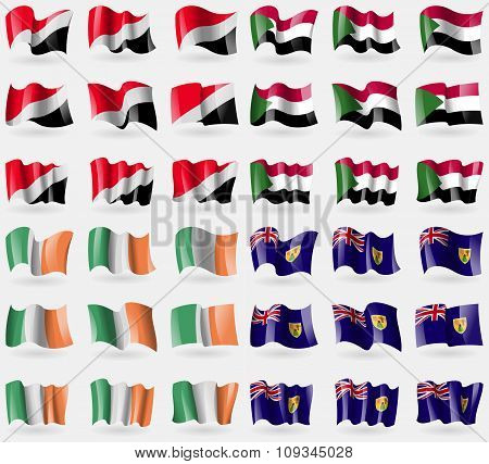Sealand Principality, Sudan, Ireland, Turks And Caicos. Set Of 36 Flags Of The Countries Of The