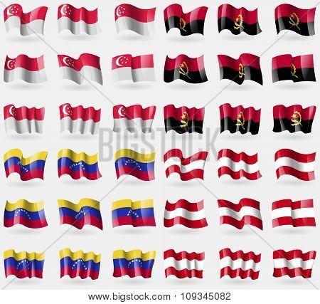 Singapore, Angola, Venezuela, Austria. Set Of 36 Flags Of The Countries Of The World.