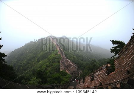 Great Wall of China in Summer on a foggy weather
