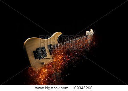 Burning rock electric guitar