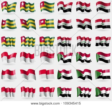 Togo, Iraq, Monaco, Sudan. Set Of 36 Flags Of The Countries Of The World.
