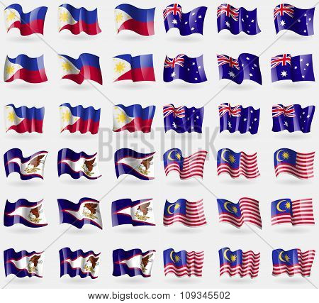 Philippines, Australia, American Samoa, Malaysia. Set Of 36 Flags Of The Countries Of The World.