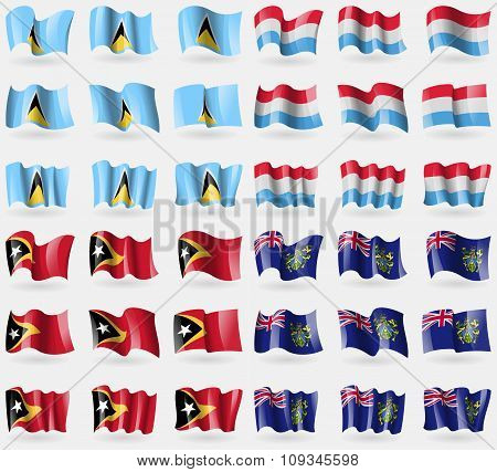 Saint Lucia, Luxembourg, East Timor, Pitcairn Islands. Set Of 36 Flags Of The Countries Of The