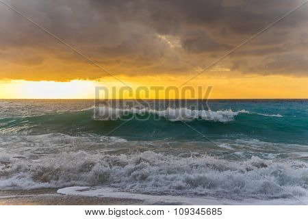 Pefkulia beach on a stormy day  Lefkada Greece