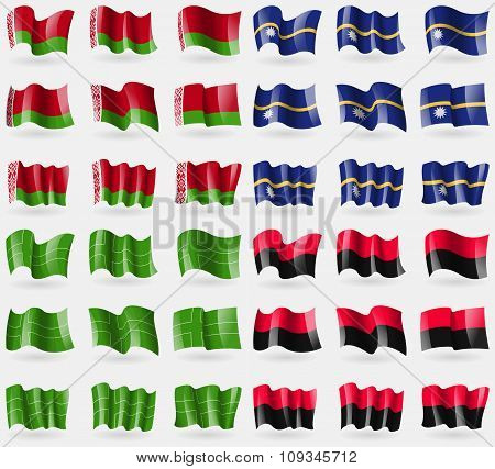 Belarus, Nauru, Ladonia, Upa. Set Of 36 Flags Of The Countries Of The World.