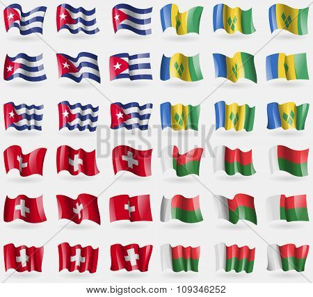 Cuba, Saint Vincent And Grenadines, Switzerland, Madagascar. Set Of 36 Flags Of The Countries Of