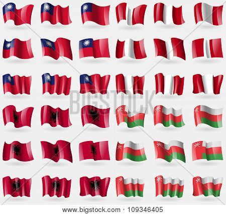 Taiwan, Peru, Albania, Oman. Set Of 36 Flags Of The Countries Of The World.