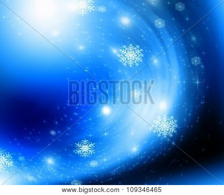 snowflakes and stars shining descending on background