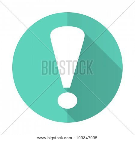 exclamation sign blue web flat design circle icon on white background