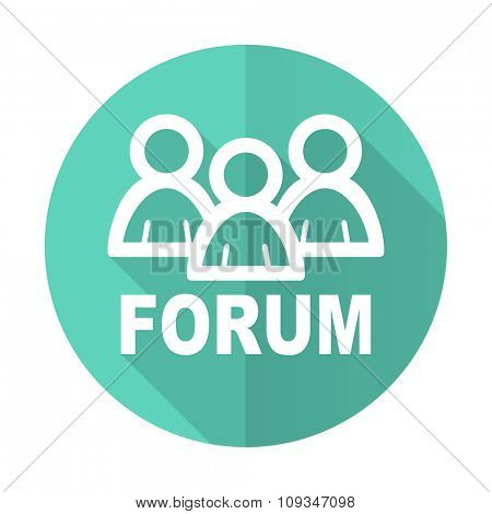 forum blue web flat design circle icon on white background