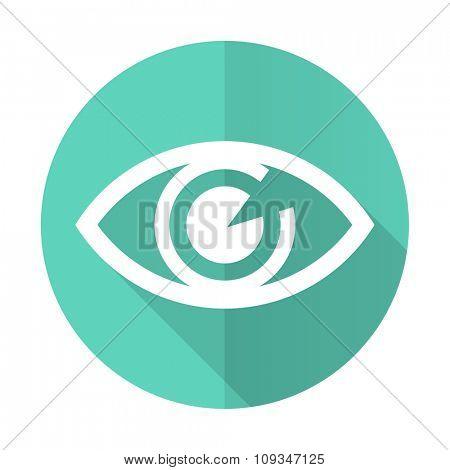 eye blue web flat design circle icon on white background