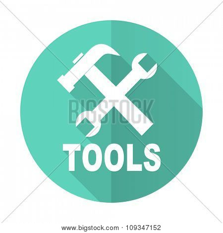 tools blue web flat design circle icon on white background