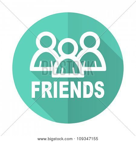 friends blue web flat design circle icon on white background