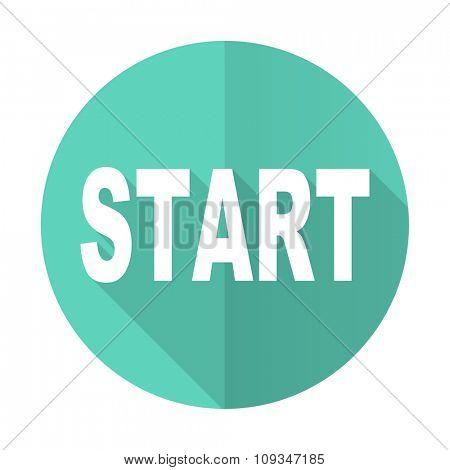start blue web flat design circle icon on white background