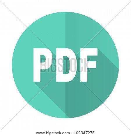 pdf blue web flat design circle icon on white background