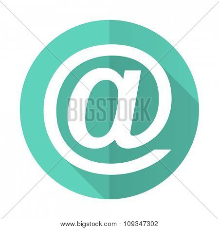email blue web flat design circle icon on white background