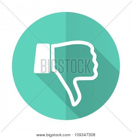dislike blue web flat design circle icon on white background