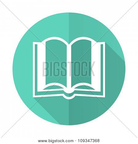 book blue web flat design circle icon on white background