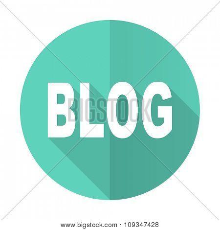 blog blue web flat design circle icon on white background