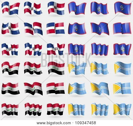 Dominican Republic, Guam, Iraq, Tuva. Set Of 36 Flags Of The Countries Of The World.