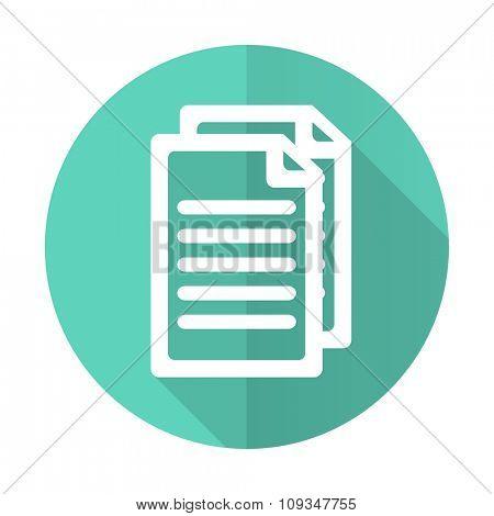 document blue web flat design circle icon on white background