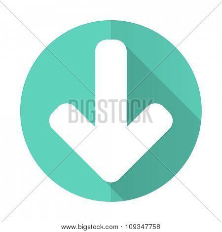 download arrow blue web flat design circle icon on white background