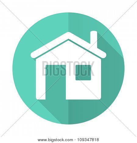 house blue web flat design circle icon on white background