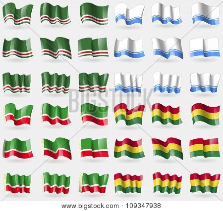 Chechen Republic Of Ichkeria, Altai Republic, Chechen Republic, Bolivia. Set Of 36 Flags Of The