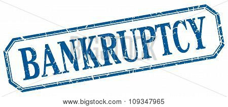 Bankruptcy Square Blue Grunge Vintage Isolated Label