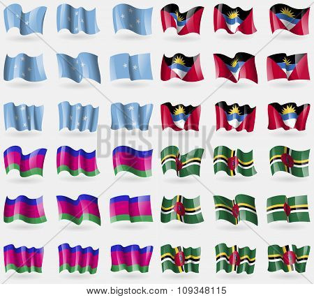Micronesia, Antigua And Barbuda, Kuban Republic, Dominica. Set Of 36 Flags Of The Countries Of The