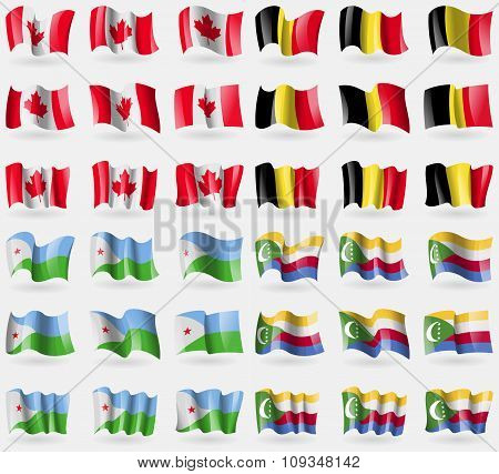 Canada, Belgium, Djibouti, Comoros. Set Of 36 Flags Of The Countries Of The World.