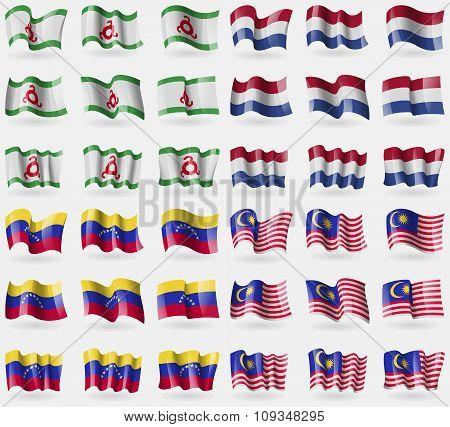 Ingushetia, Netherlands, Venezuela, Malaysia. Set Of 36 Flags Of The Countries Of The World.