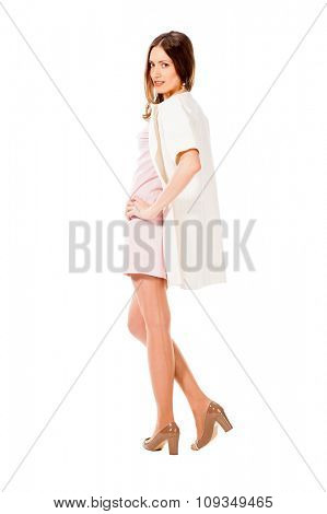 Young slim pretty woman posing isolated on white background