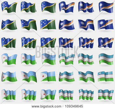 Solomon Islands, Marshall Islands, Djibouti, Uzbekistan. Set Of 36 Flags Of The Countries Of The