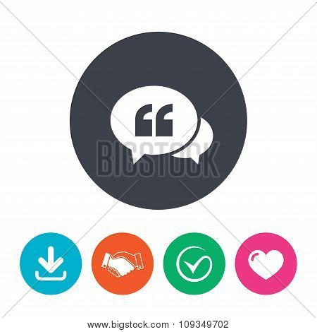 Chat Quote sign icon. Quotation mark symbol.